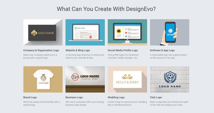 Screenshot of DesignEvo options for logos