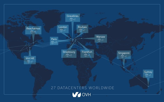 Screenshot of OVH datacenter map