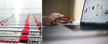 Images of shopping carts and an online shopper