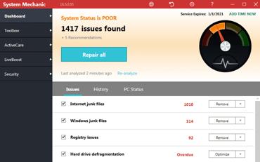 Screenshot of System Mechanic interface