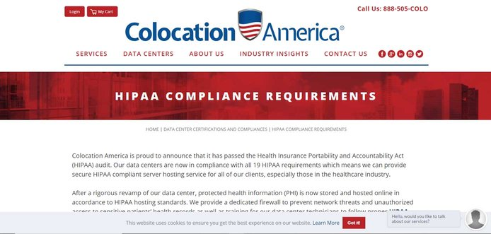 Screenshot of Colocation America HIPAA-compliant hosting