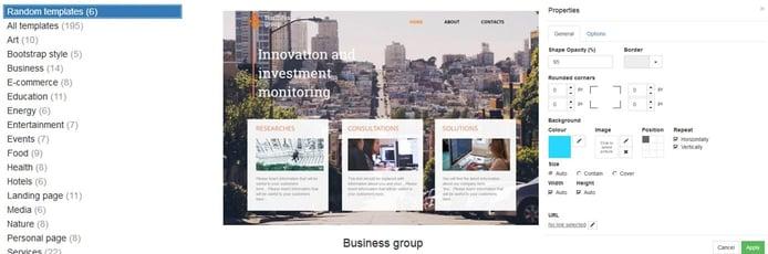 Screenshots of Contabo Website Builder