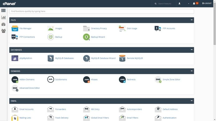 Screenshot of cPanel dashboard