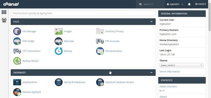 Screenshot of cPanel control panel
