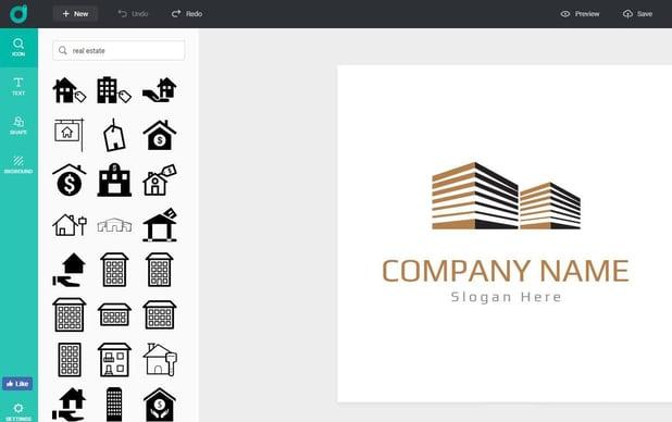 Screnshot of DesignEvo's logo maker and templates