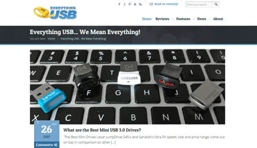 Screenshot of the Everything USB homepage