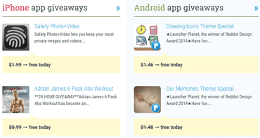 Screenshot of iPhone and Android app giveaways