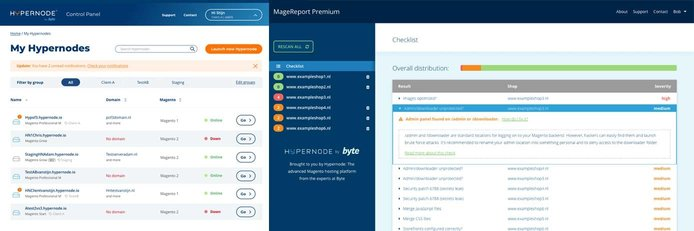 Screenshots of Hypernode control panel and MageReport Premium