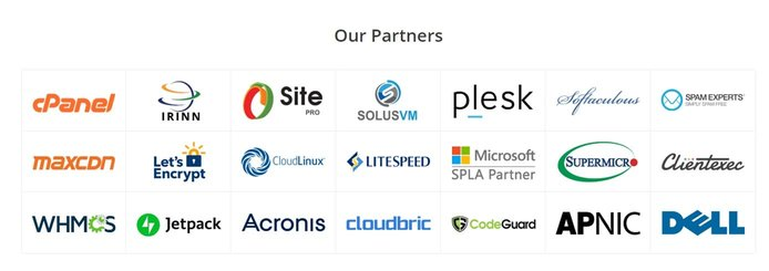 Logos of MilesWeb technology partners
