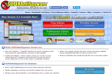 Screenshot of the SUPERAntiSoftware homepage