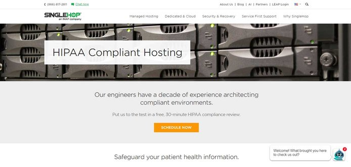 Screenshot of SingleHop HIPAA-compliant hosting