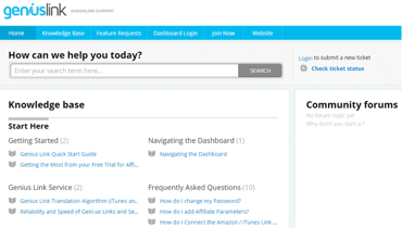 Screenshot from the Geniuslink Support page