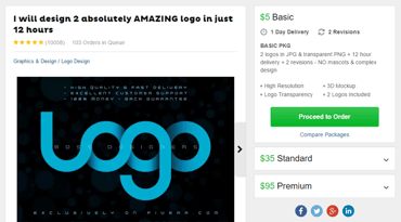 Screenshot of the packages available for a logo on Fiverr