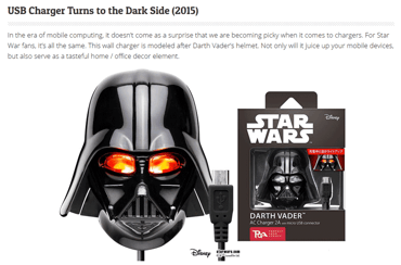 Screenshot from a blog about Star Wars-related USB products