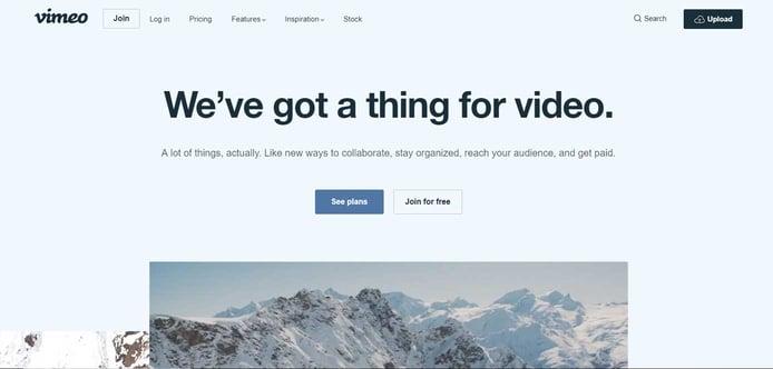 Screenshot of Vimeo homepage