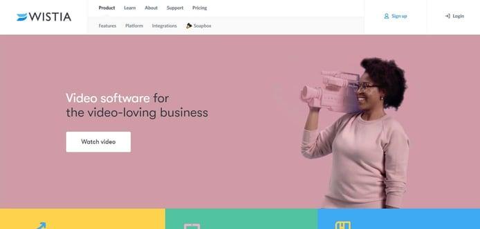 Screenshot of Wistia homepage