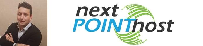Headshot of NextPointHost Founder Genko Penev and company logo