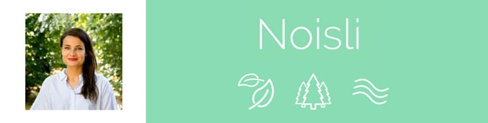 Noisli Co-Founder Sabine Staggl and company logo