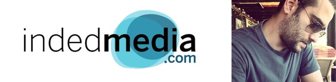 Photo of IndedMedia logo and CEO Eduardo González