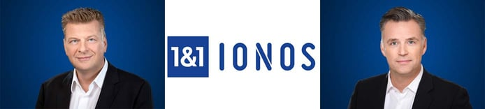 Images of Achim Weiss and Christian Böing with 1&1 IONOS logo