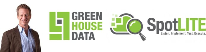Image of Thomas Burns with logos for Green House Data and SpotLITE