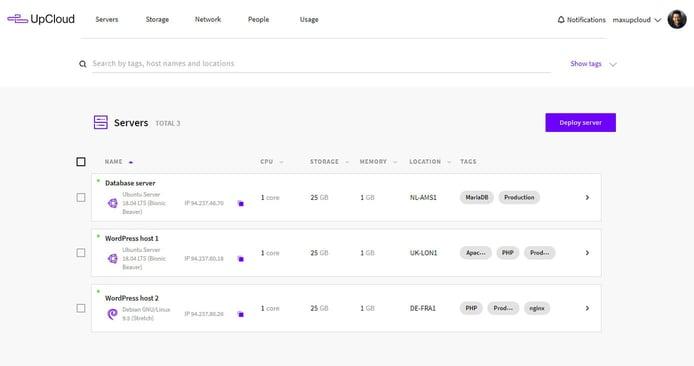 Screenshot of UpCloud's control panel
