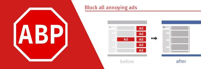 Adblock Plus logo and marketing graphic