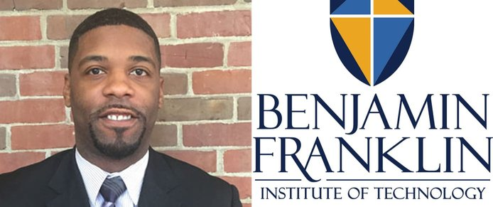 Calvin Conyers, Director of Admissions at BFIT, and the school's logo
