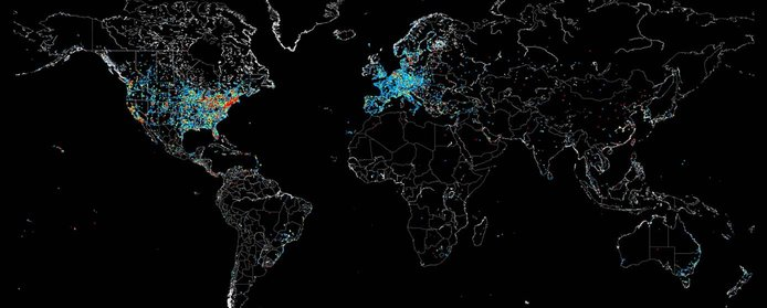 Map of industrial control systems on the internet
