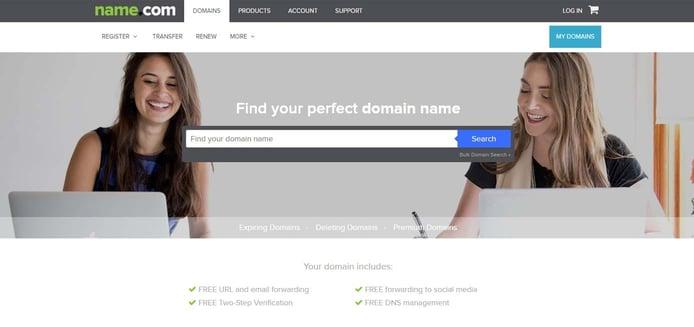 Screenshot of Name.com domain registrations