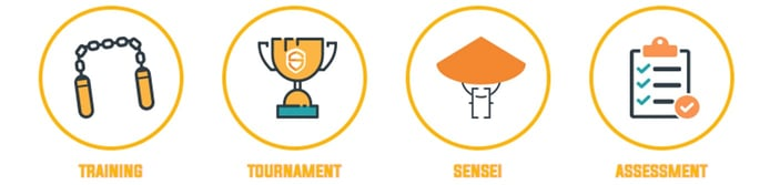 Icons of the four stages of the Secure Code Warrior platform
