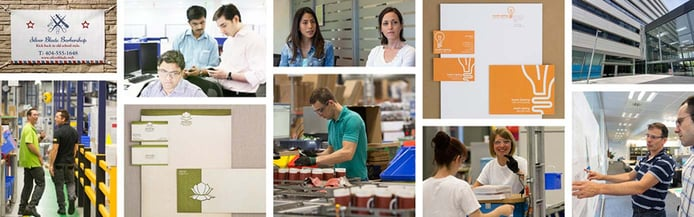 Collage of images showing various business products and people