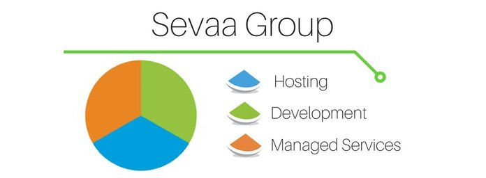 Pie chart representing Sevaa's services grouped into hosting, development, and managed services