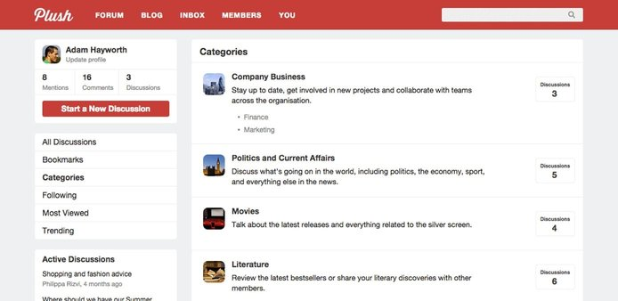 Screenshot of Plush Forums interface