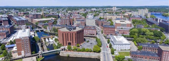 Aerial view of Lowell, Massachusetts