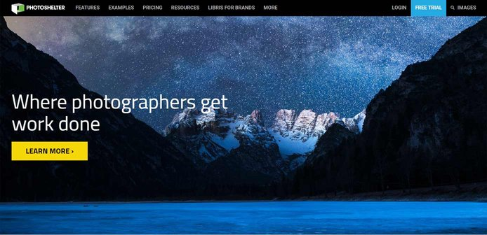 Screenshot of PhotoShelter website