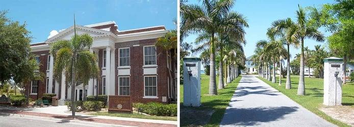 Images of Punta Gorda city hall and Villla Bianca