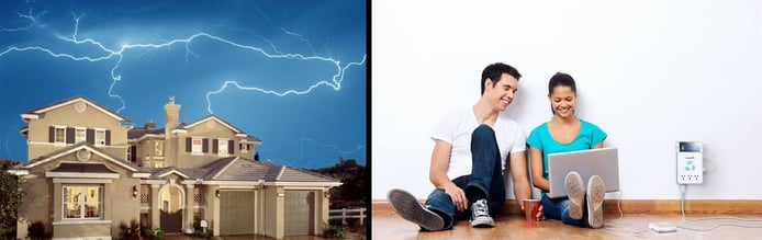 House hit by lightning and a couple enjoying electronic devices