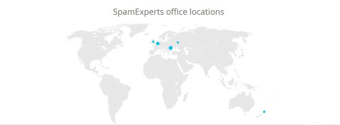 A map of SpamExperts offices