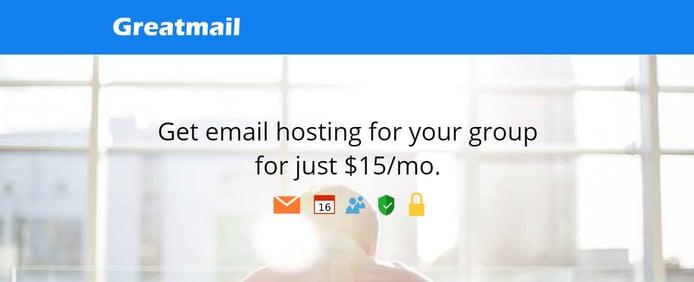 Screenshot of Greatmail homepage