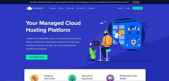Screenshot of Cloudways cloud hosting website