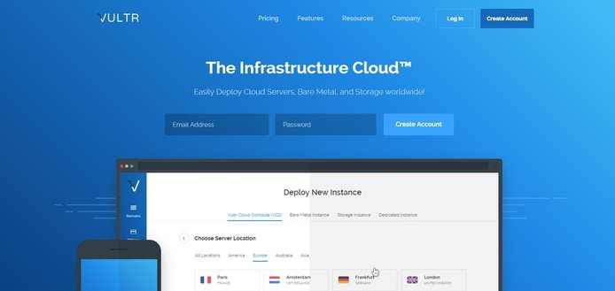 Screenshot of Vultr homepage