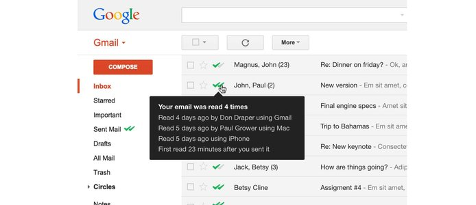 Screenshot of the Mailtrack extension in action