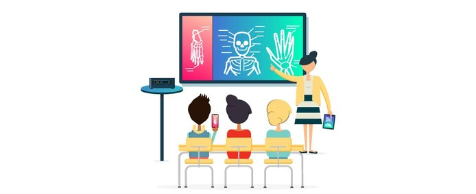Graphic depicting teacher and students