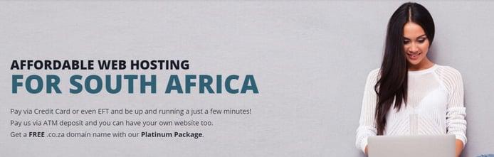 Screenshot of SA Webhosts homepage