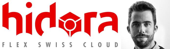 Hidora logo and photo of CEO Matthieu Robin