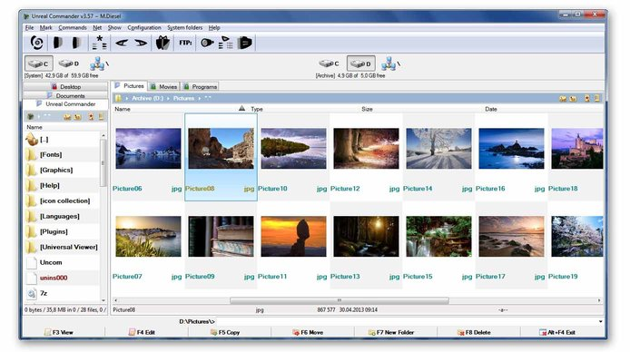Screenshot of Unreal Commander file management
