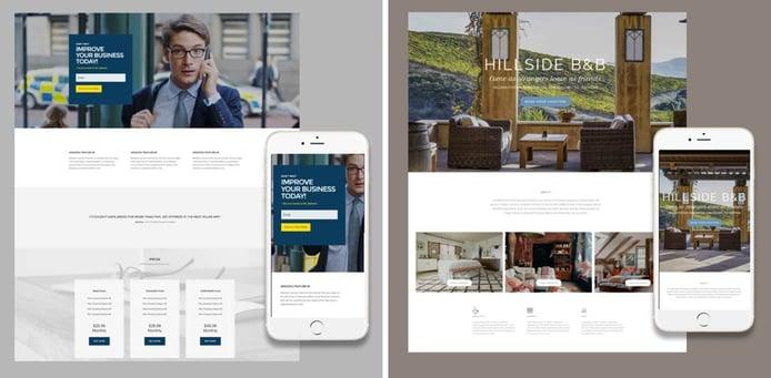 Screenshots of ItSoEzi templates for SA Webhosts