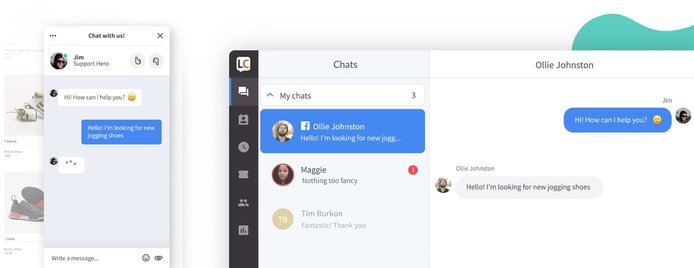Screenshot of LiveChat example customer service interaction