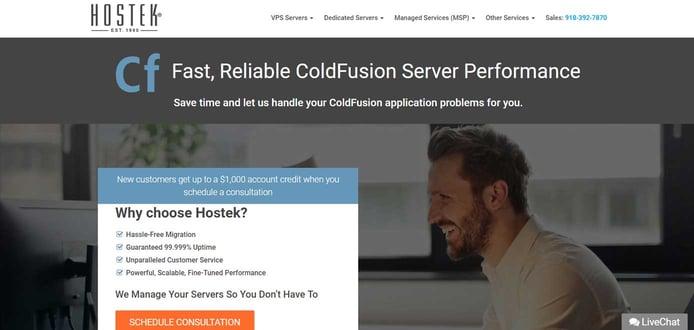 Screenshot of Hostek ColdFusion hosting page